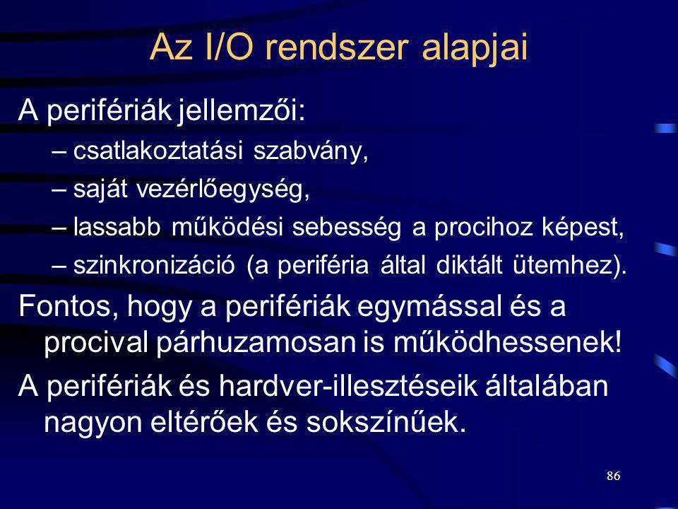 Az I/O rendszer alapjai