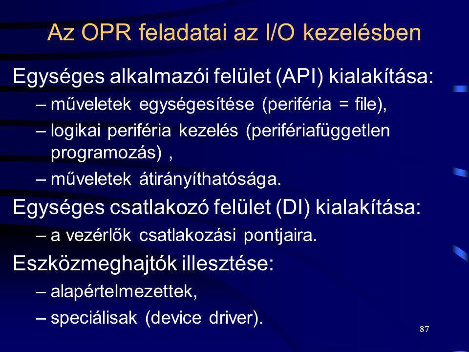 Az OPR feladatai az I/O kezelésben