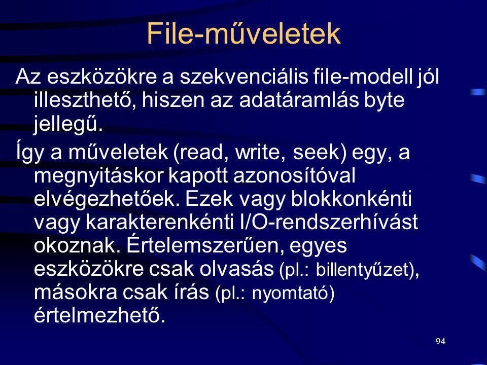 File-műveletek Az eszközökre a szekvenciális file-modell jól illeszthető, hiszen az adatáramlás byte jellegű.