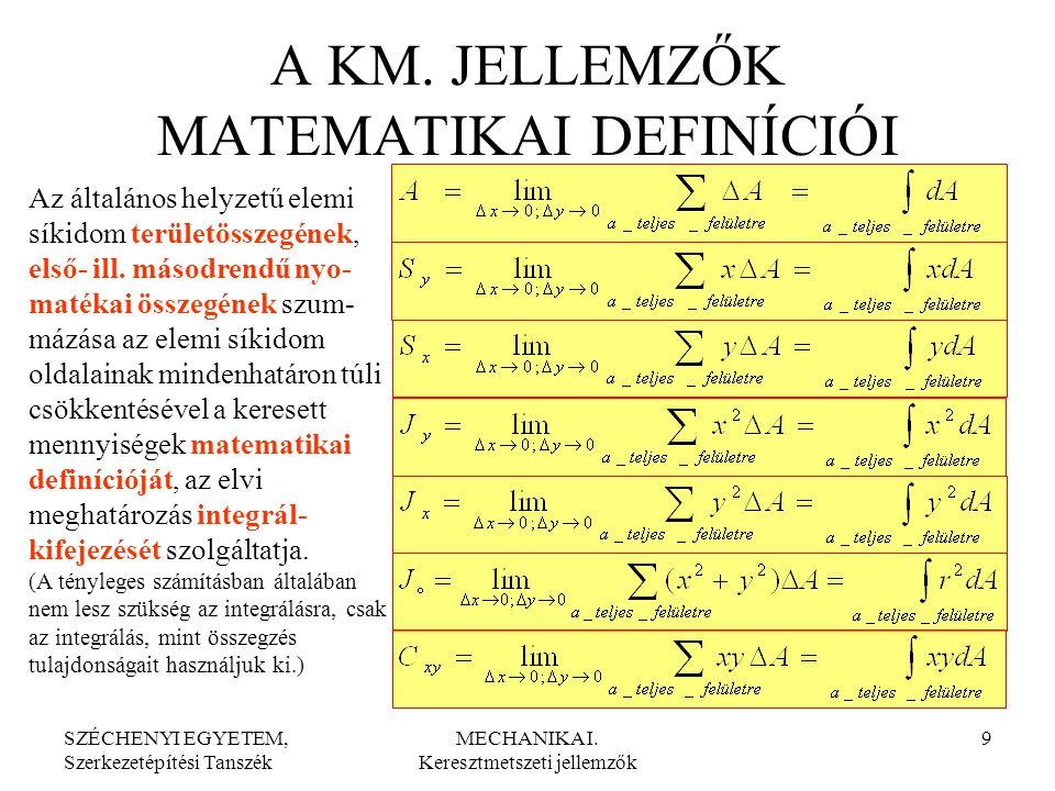 A KM. JELLEMZŐK MATEMATIKAI DEFINÍCIÓI