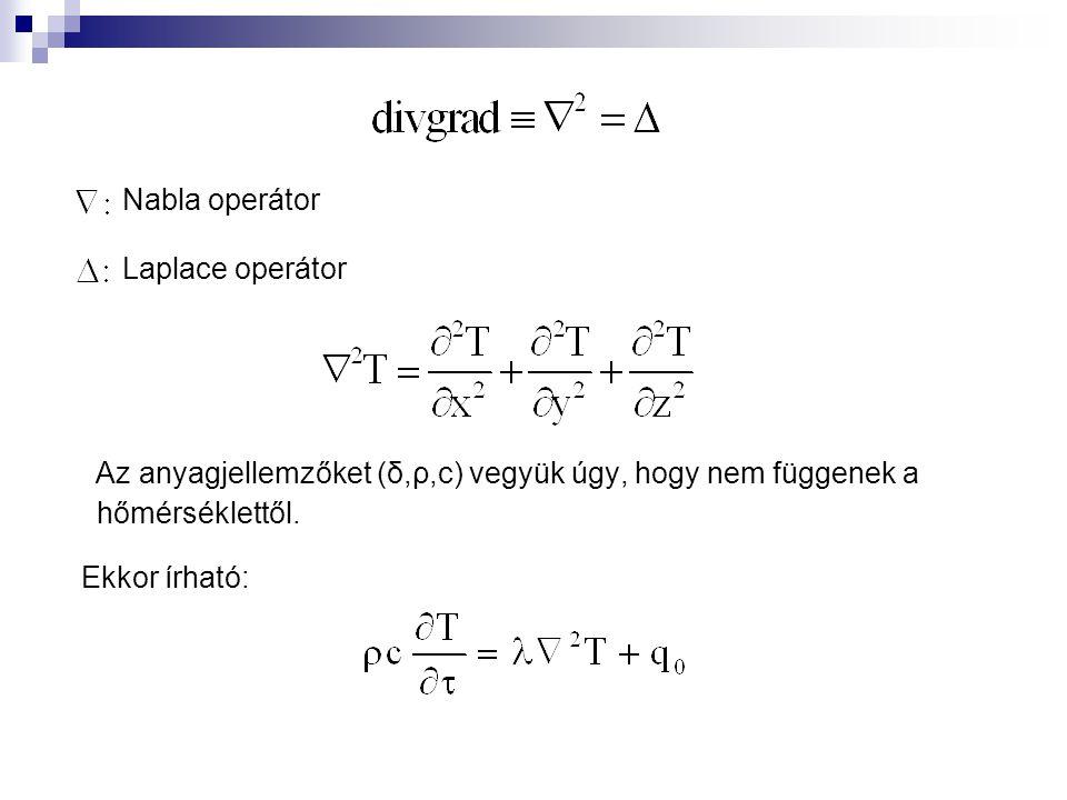 Nabla operátor Laplace operátor. Az anyagjellemzőket (δ,ρ,c) vegyük úgy, hogy nem függenek a hőmérséklettől.