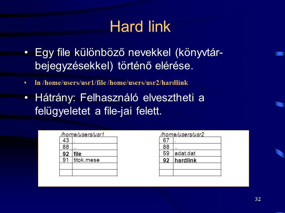Hard link Egy file különböző nevekkel (könyvtár- bejegyzésekkel) történő elérése. ln /home/users/usr1/file /home/users/usr2/hardlink.