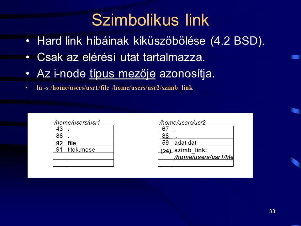Szimbolikus link Hard link hibáinak kiküszöbölése (4.2 BSD).