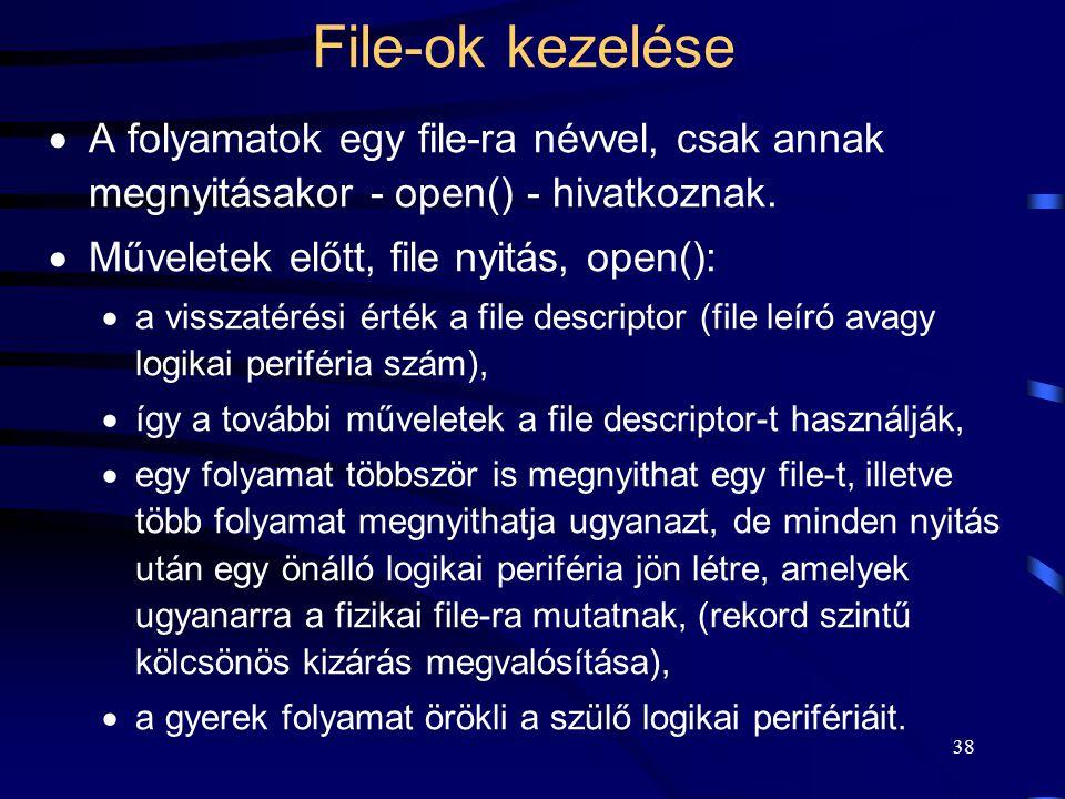 File-ok kezelése A folyamatok egy file-ra névvel, csak annak megnyitásakor - open() - hivatkoznak. Műveletek előtt, file nyitás, open():