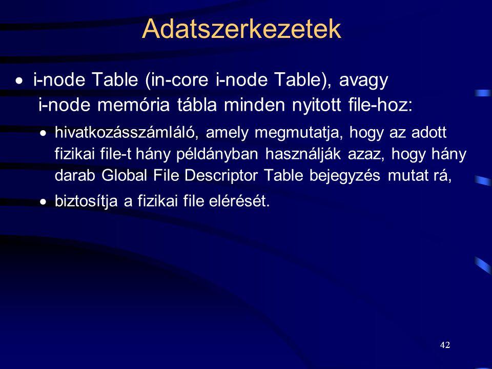 Adatszerkezetek i-node Table (in-core i-node Table), avagy i-node memória tábla minden nyitott file-hoz: