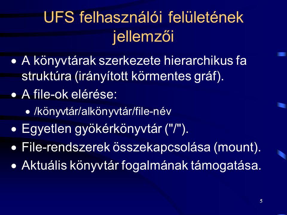 UFS felhasználói felületének jellemzői
