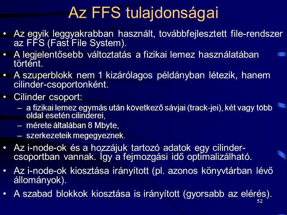 Az FFS tulajdonságai Az egyik leggyakrabban használt, továbbfejlesztett file-rendszer az FFS (Fast File System).