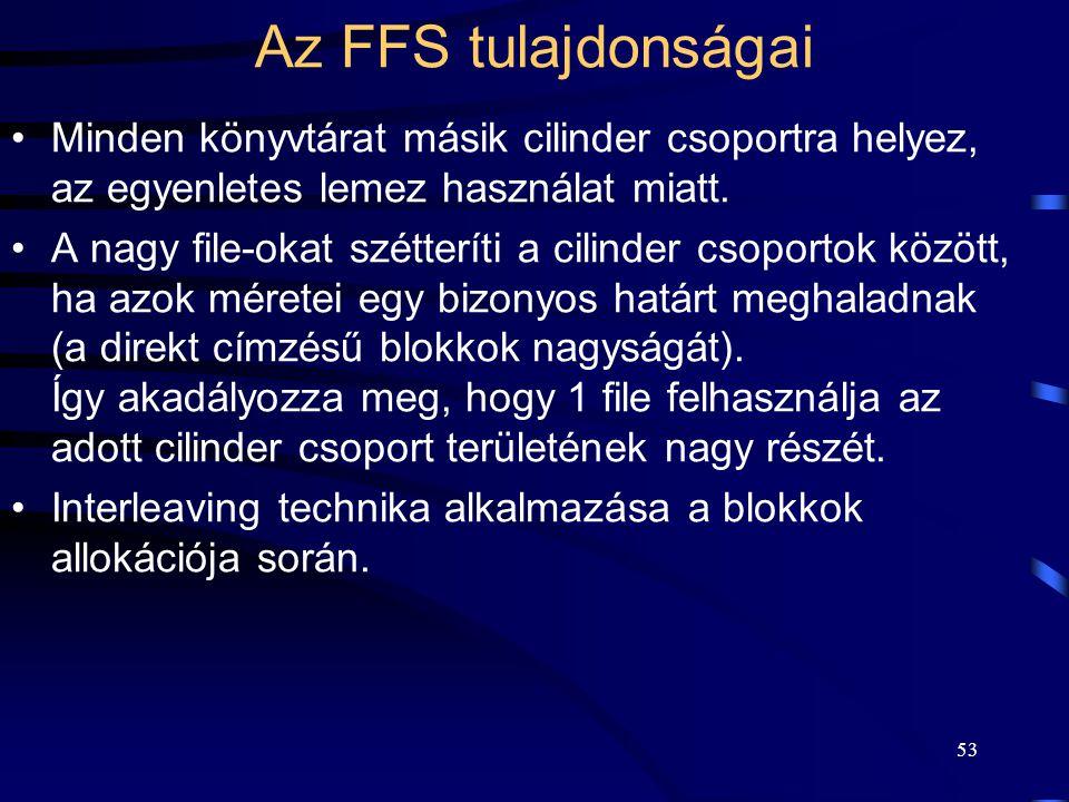 Az FFS tulajdonságai Minden könyvtárat másik cilinder csoportra helyez, az egyenletes lemez használat miatt.