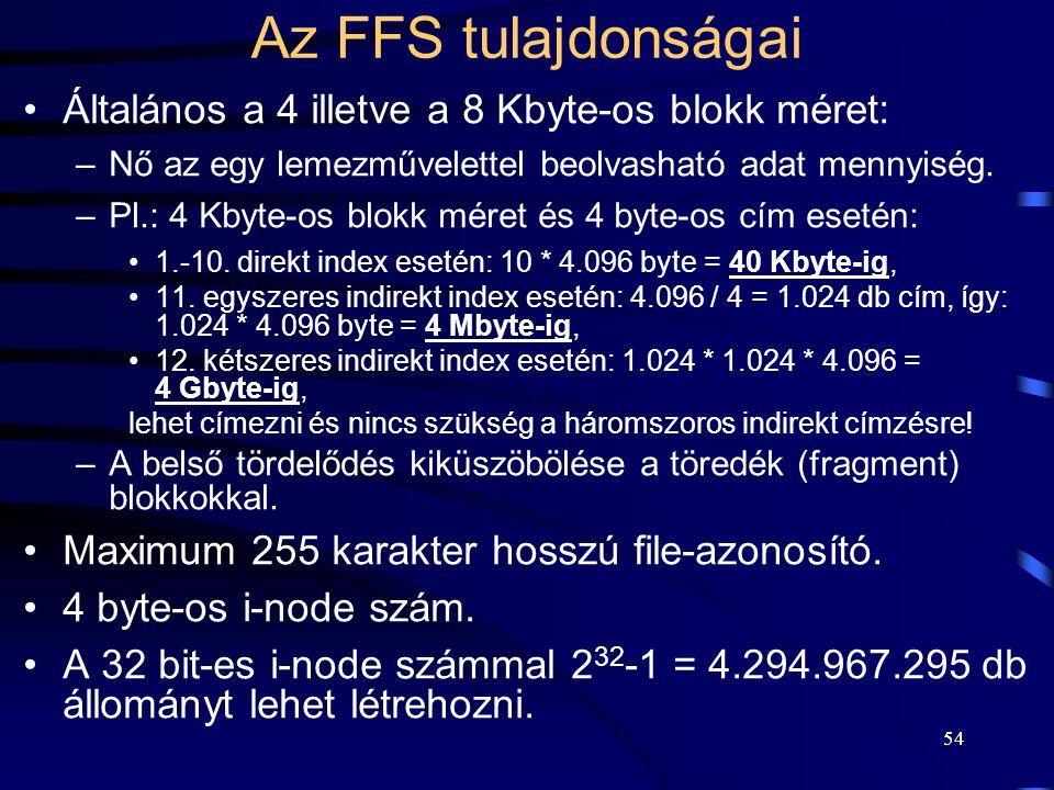 Az FFS tulajdonságai Általános a 4 illetve a 8 Kbyte-os blokk méret: