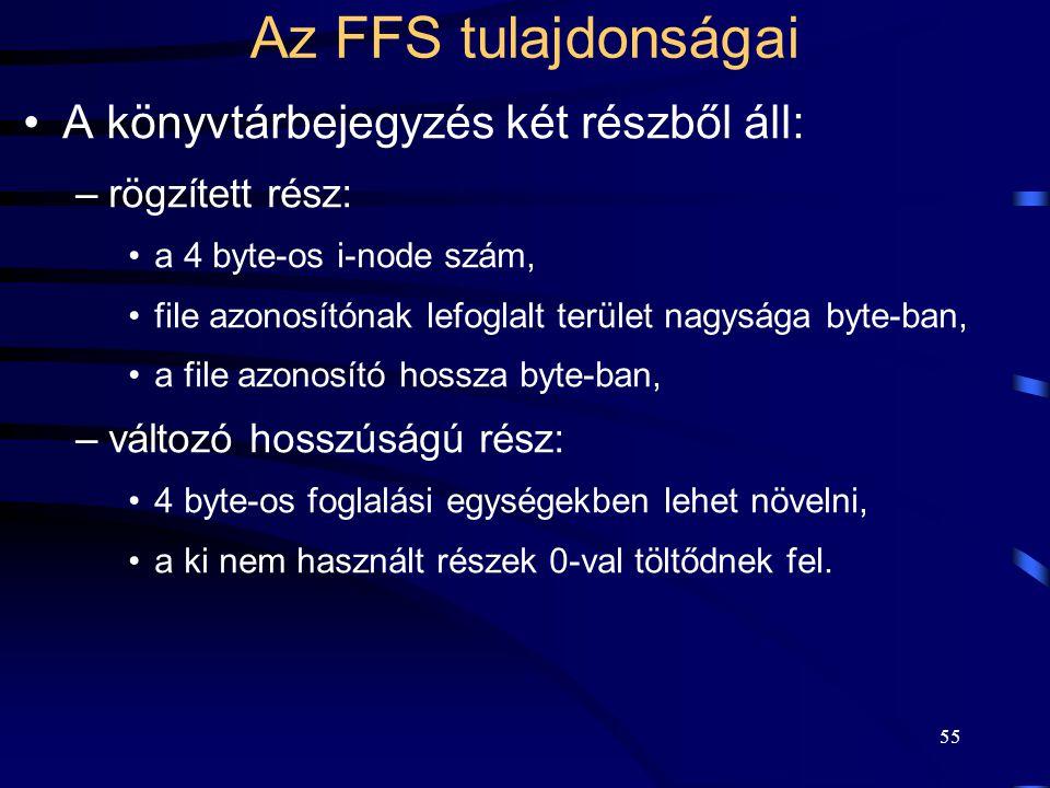 Az FFS tulajdonságai A könyvtárbejegyzés két részből áll: