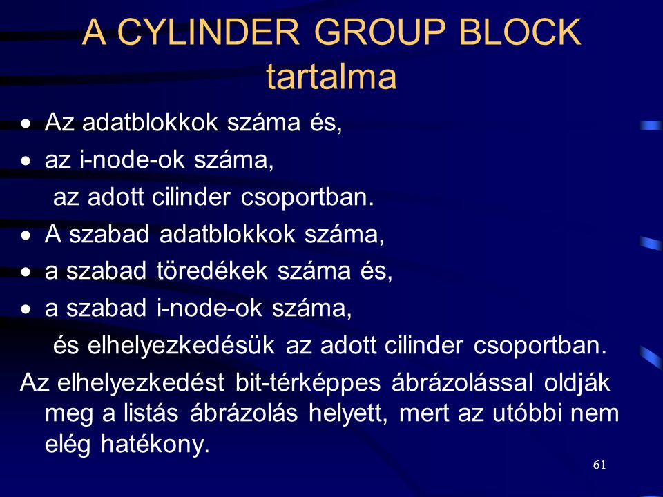 A CYLINDER GROUP BLOCK tartalma