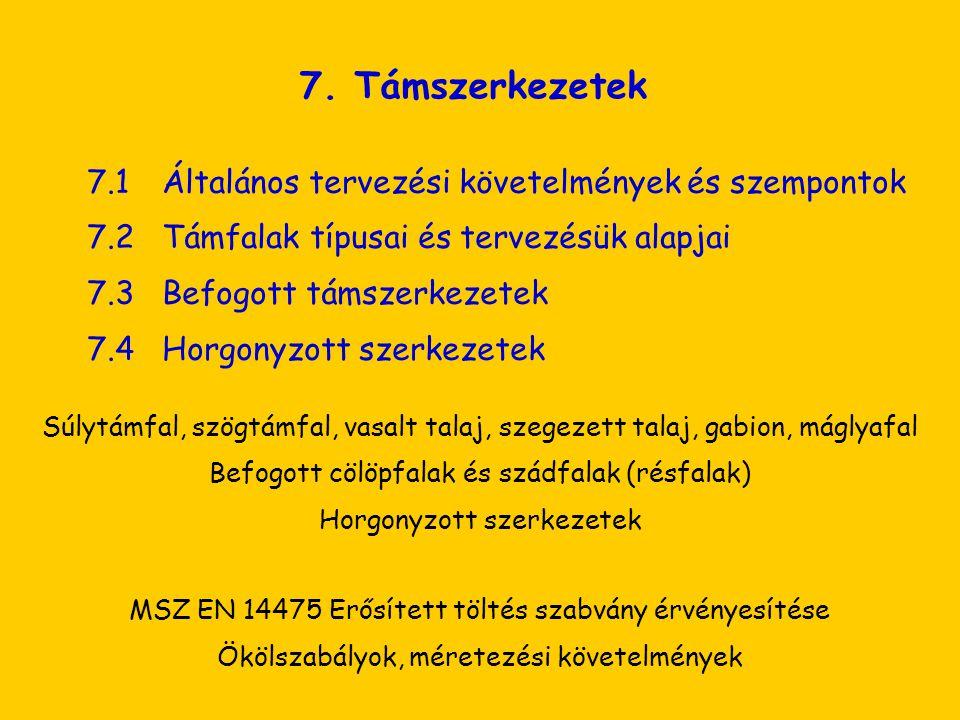 7. Támszerkezetek 7.2 Támfalak típusai és tervezésük alapjai