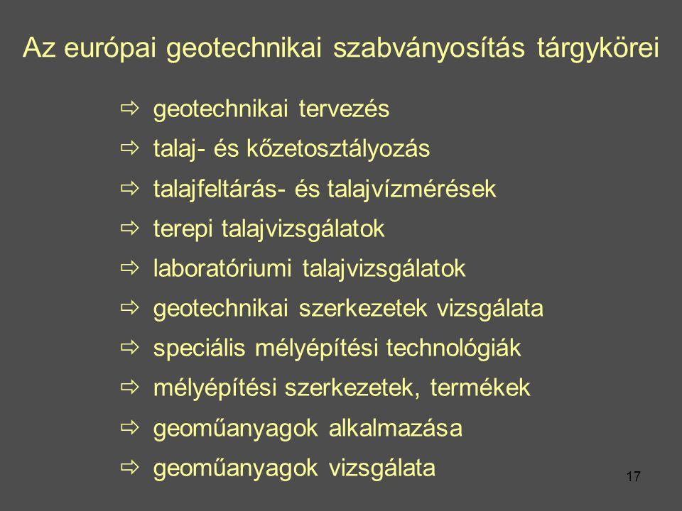 Az európai geotechnikai szabványosítás tárgykörei