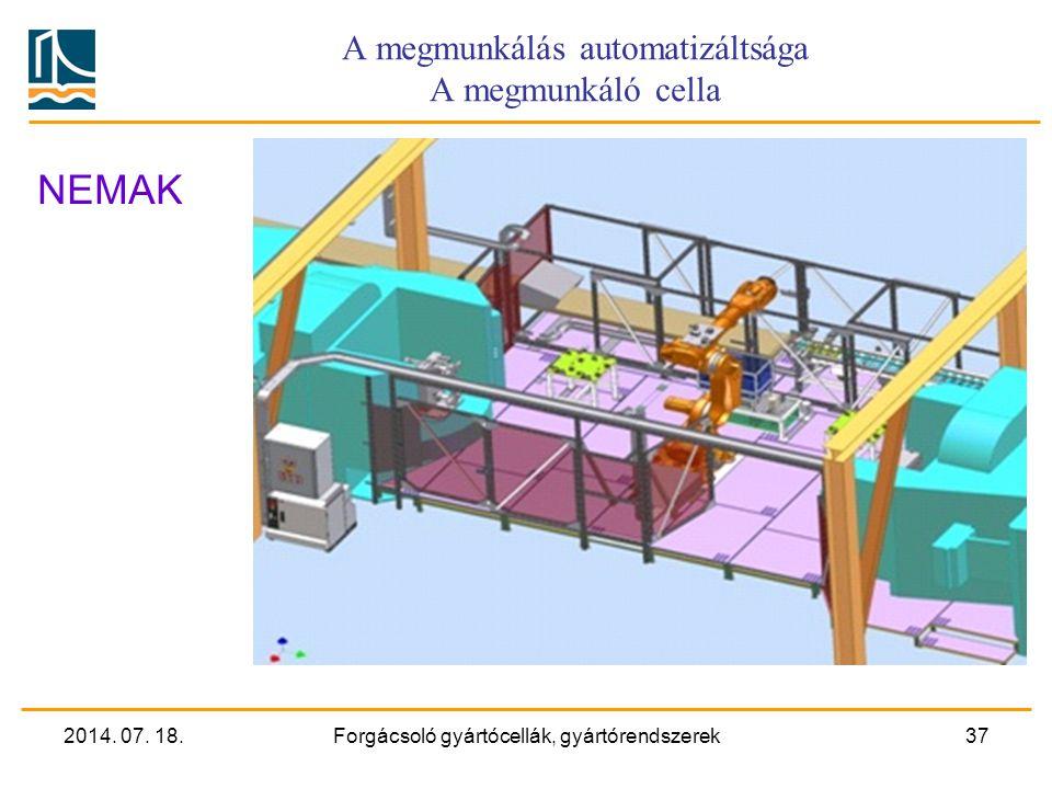 A megmunkálás automatizáltsága A megmunkáló cella