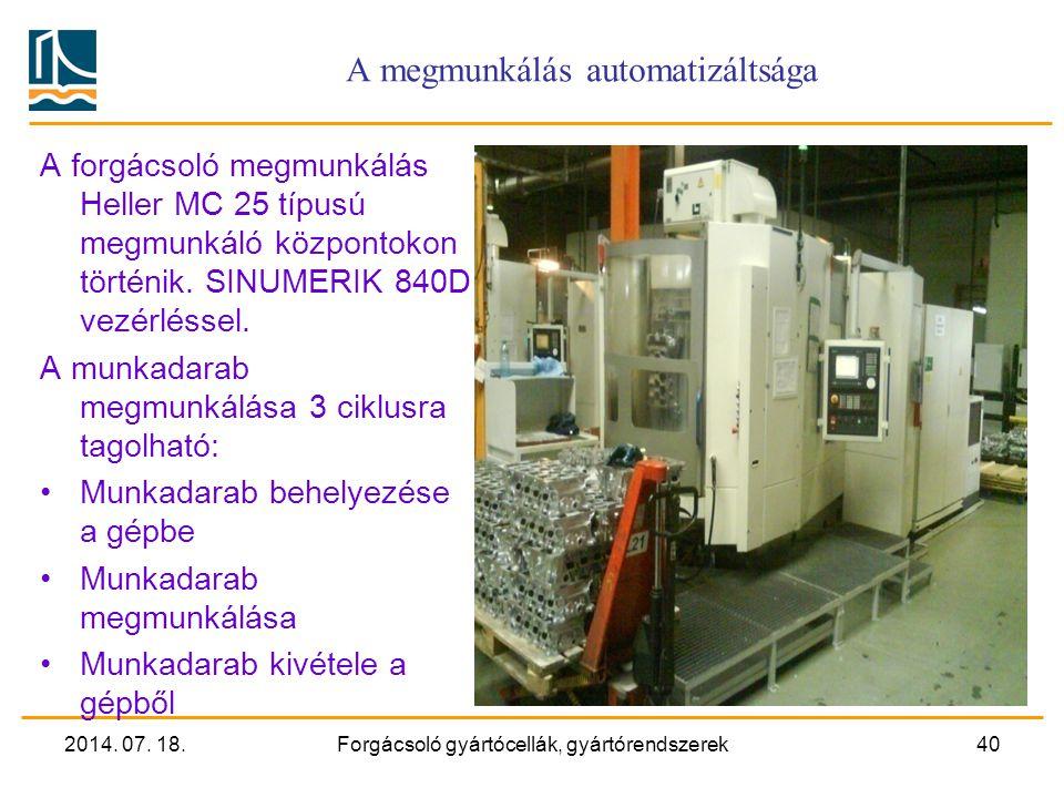 A megmunkálás automatizáltsága