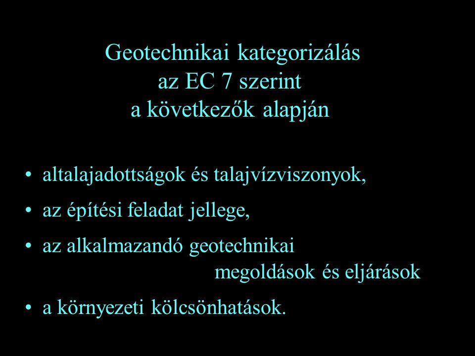 Geotechnikai kategorizálás az EC 7 szerint a következők alapján