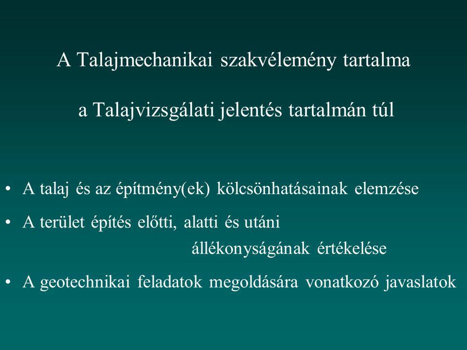 A Talajmechanikai szakvélemény tartalma a Talajvizsgálati jelentés tartalmán túl