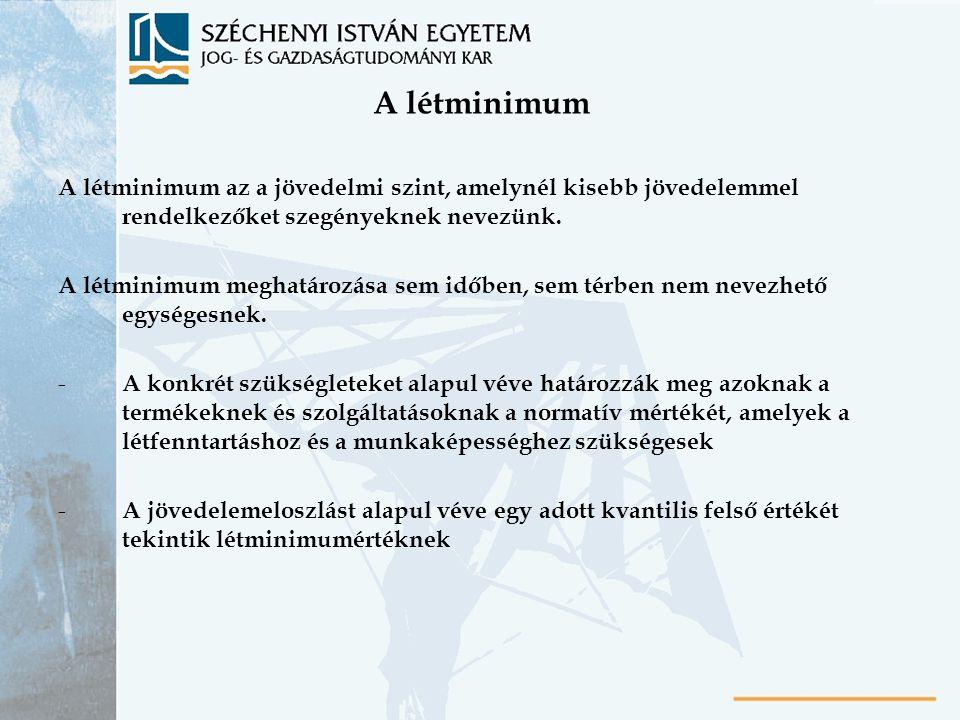 A létminimum A létminimum az a jövedelmi szint, amelynél kisebb jövedelemmel rendelkezőket szegényeknek nevezünk.