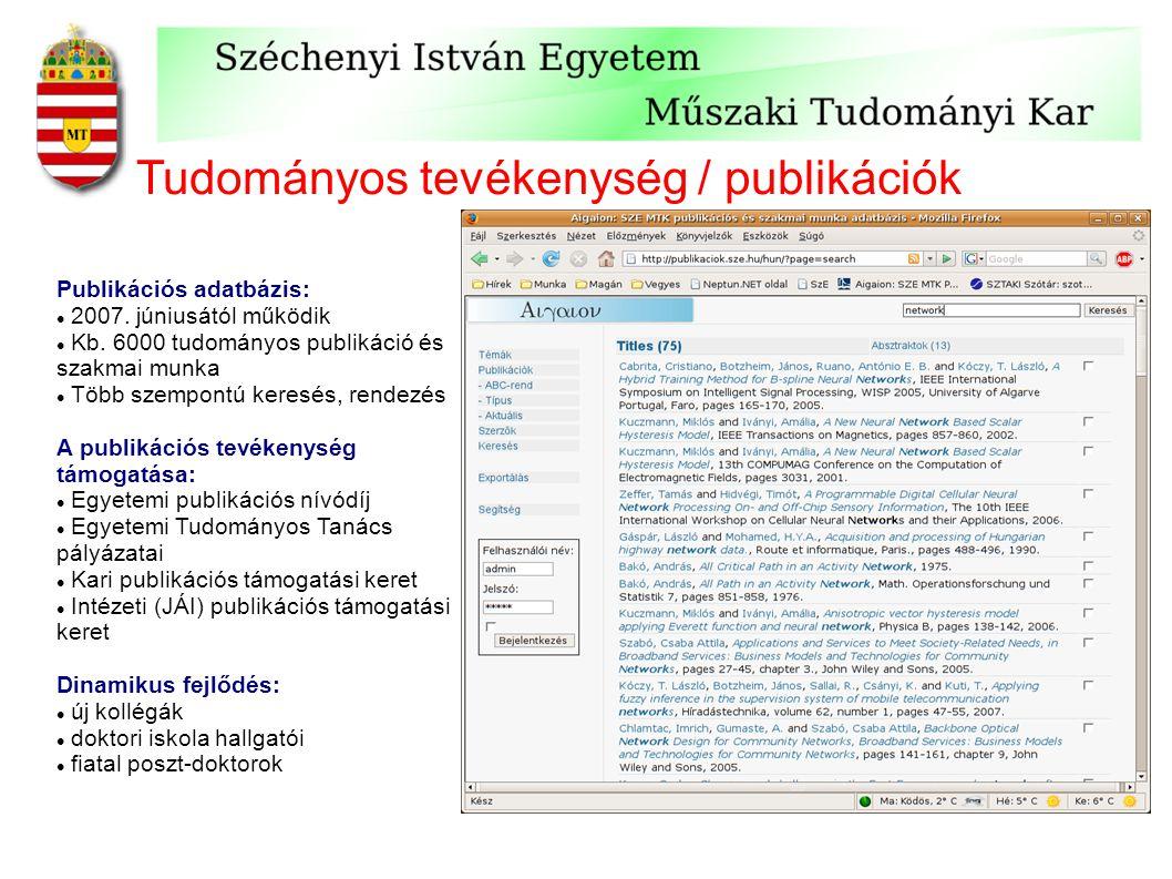 Tudományos tevékenység / publikációk