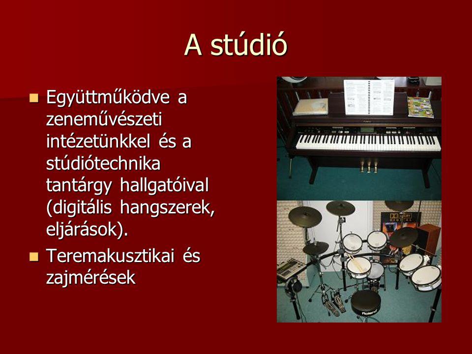 A stúdió Együttműködve a zeneművészeti intézetünkkel és a stúdiótechnika tantárgy hallgatóival (digitális hangszerek, eljárások).