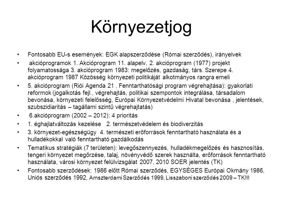 Környezetjog Fontosabb EU-s események: EGK alapszerződése (Római szerződés), irányelvek.