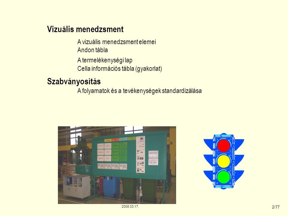 Vizuális menedzsment Szabványosítás