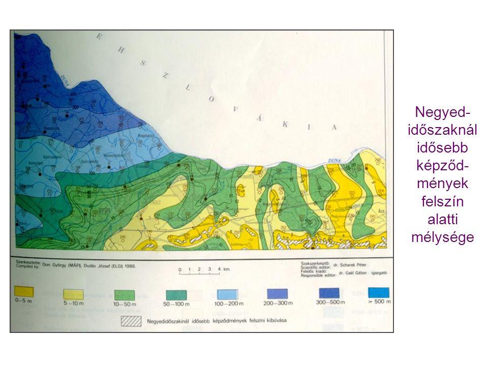 Negyed-időszaknál idősebb képződ-mények felszín alatti mélysége