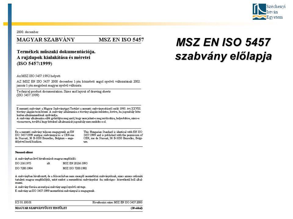 MSZ EN ISO 5457 szabvány előlapja