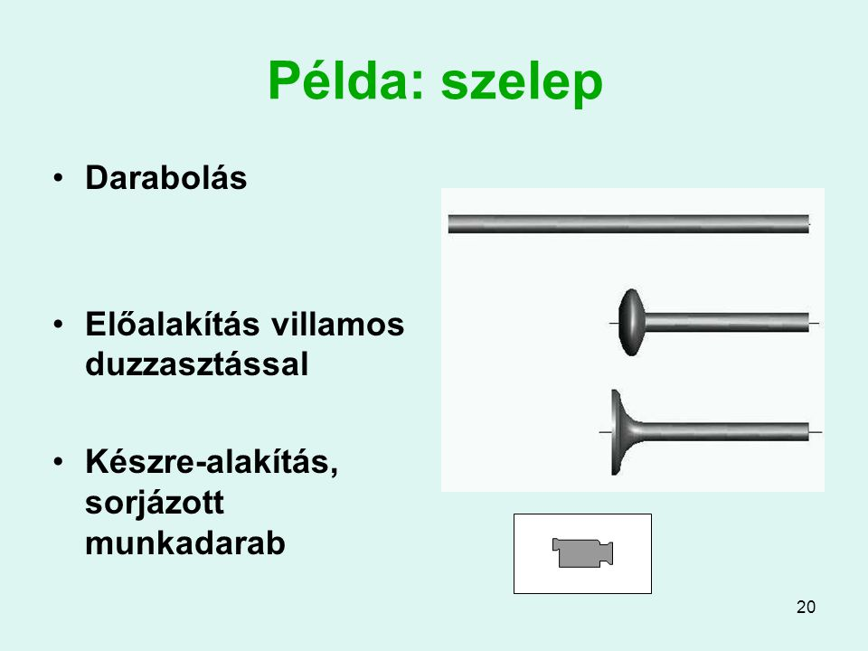Példa: szelep Darabolás Előalakítás villamos duzzasztással