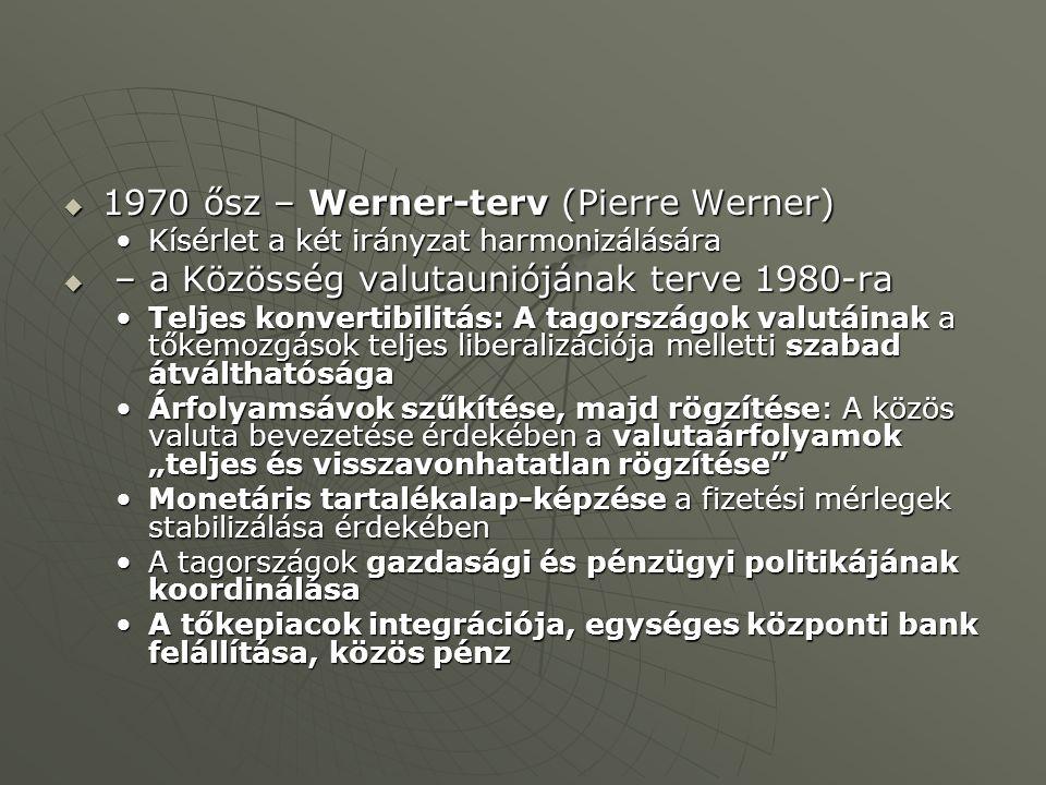 1970 ősz – Werner-terv (Pierre Werner)