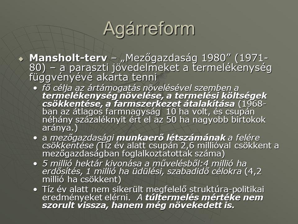 """Agárreform Mansholt-terv – """"Mezőgazdaság 1980 (1971-80) – a paraszti jövedelmeket a termelékenység függvényévé akarta tenni."""