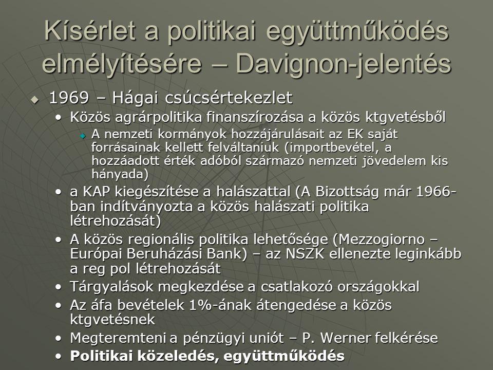 Kísérlet a politikai együttműködés elmélyítésére – Davignon-jelentés