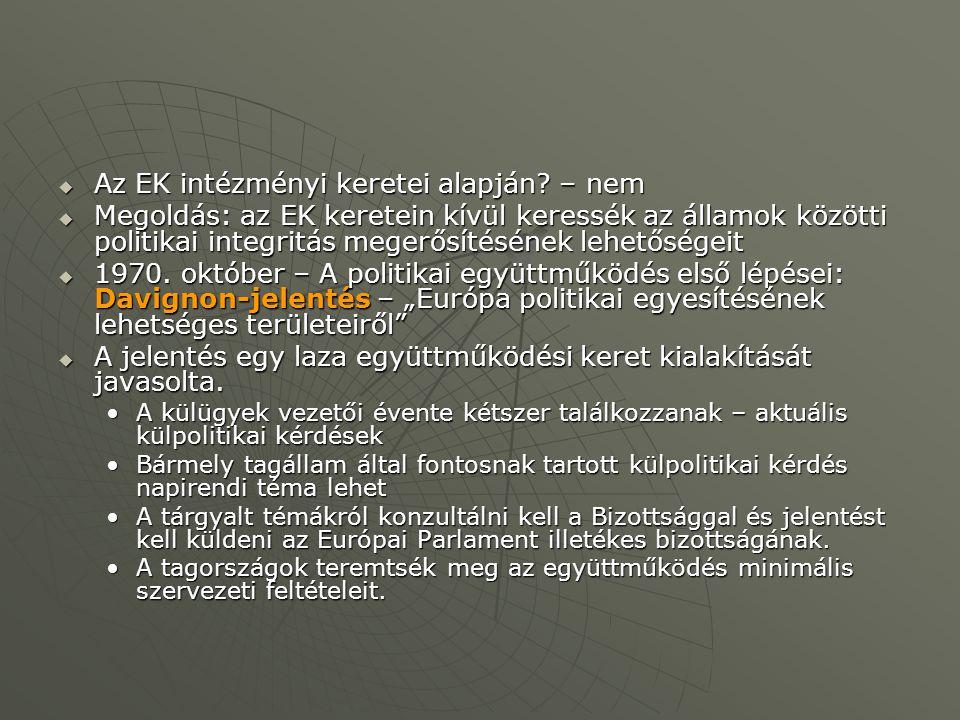Az EK intézményi keretei alapján – nem