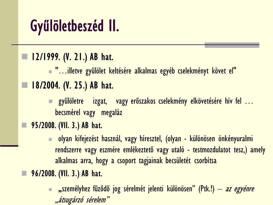 Gyűlöletbeszéd II. 12/1999. (V. 21.) AB hat. 18/2004. (V. 25.) AB hat.