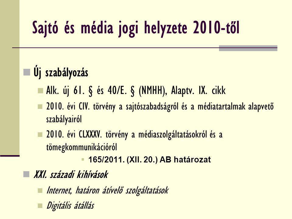 Sajtó és média jogi helyzete 2010-től
