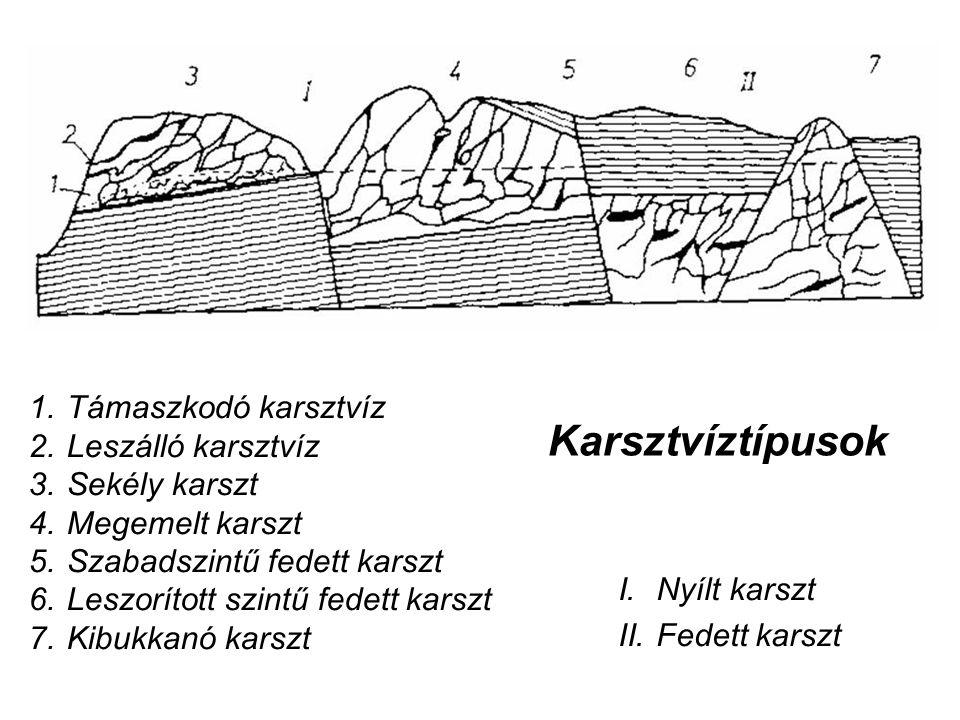Karsztvíztípusok Támaszkodó karsztvíz Leszálló karsztvíz Sekély karszt