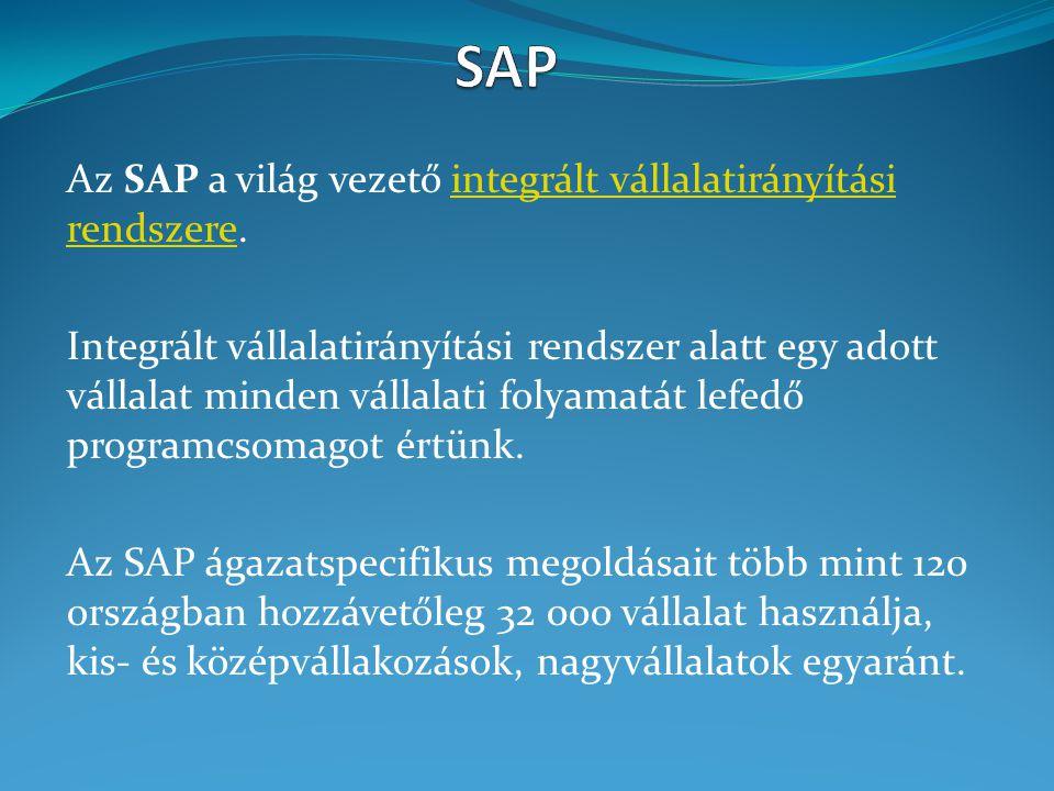 SAP Az SAP a világ vezető integrált vállalatirányítási rendszere.