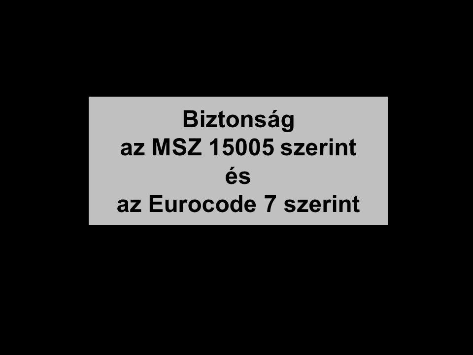 Biztonság az MSZ 15005 szerint és az Eurocode 7 szerint