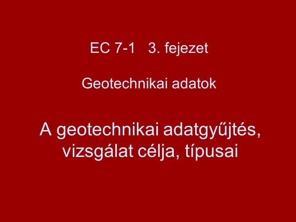 A geotechnikai adatgyűjtés, vizsgálat célja, típusai