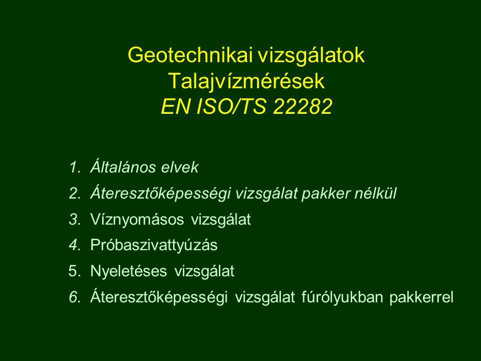 Geotechnikai vizsgálatok Talajvízmérések EN ISO/TS 22282