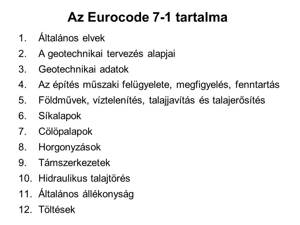 Az Eurocode 7-1 tartalma 1. Általános elvek