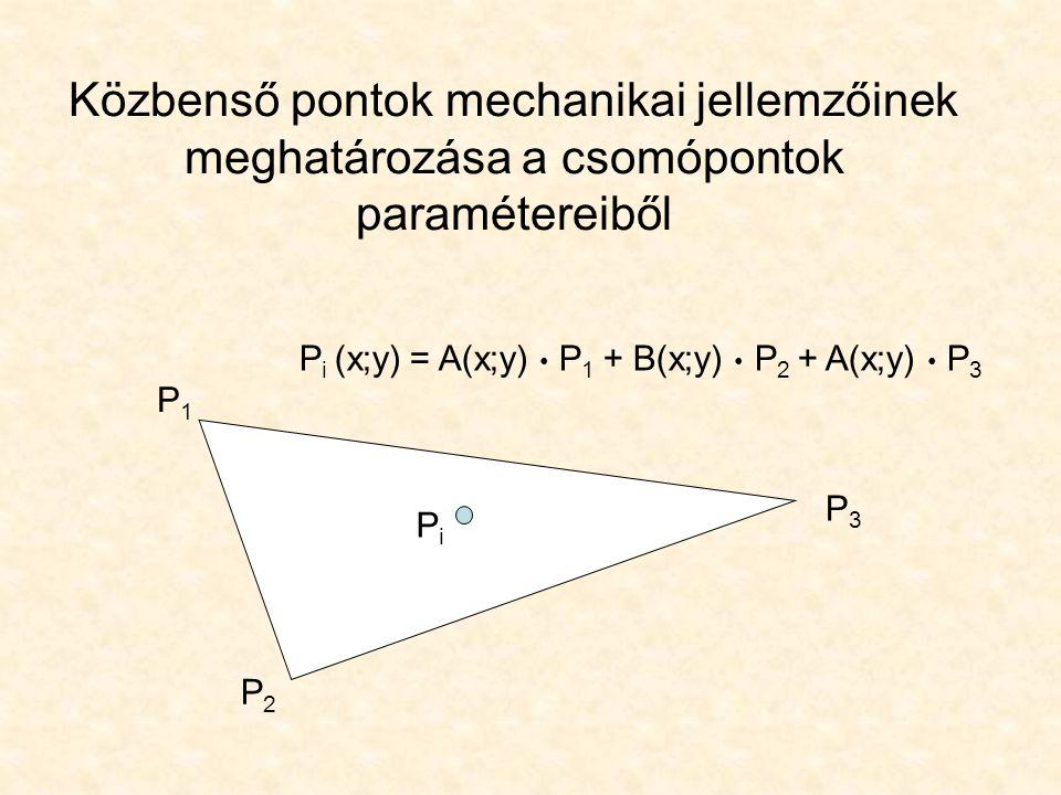 Közbenső pontok mechanikai jellemzőinek meghatározása a csomópontok paramétereiből