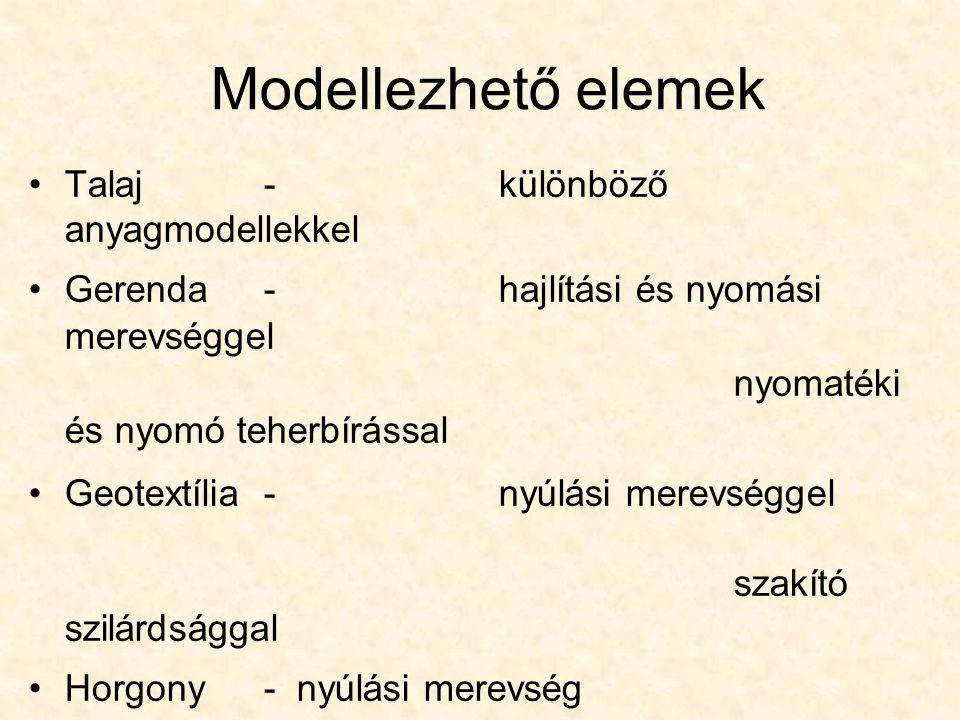 Modellezhető elemek Talaj - különböző anyagmodellekkel