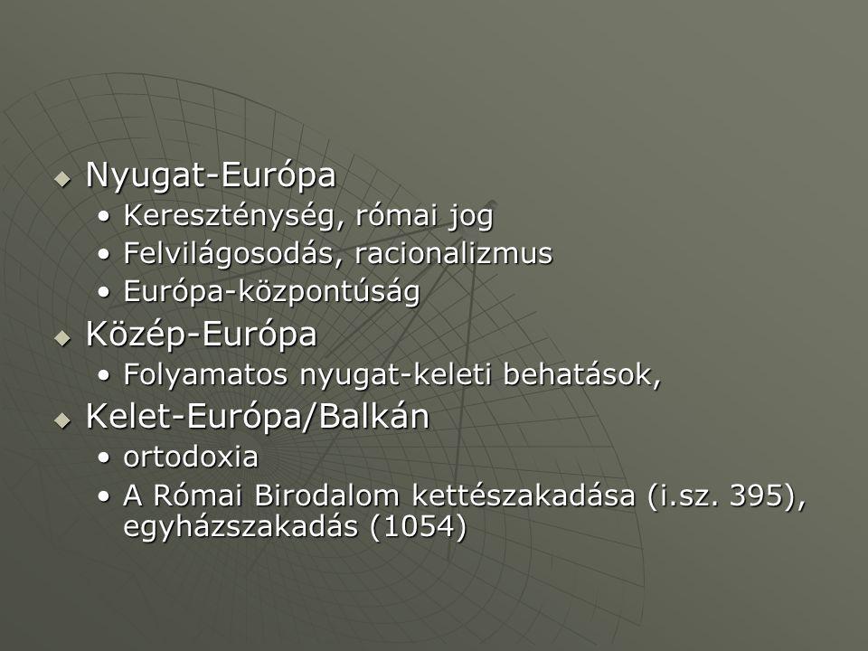 Nyugat-Európa Közép-Európa Kelet-Európa/Balkán