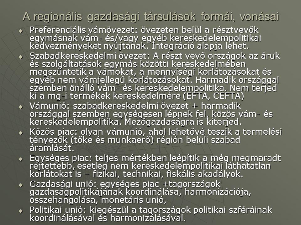 A regionális gazdasági társulások formái, vonásai