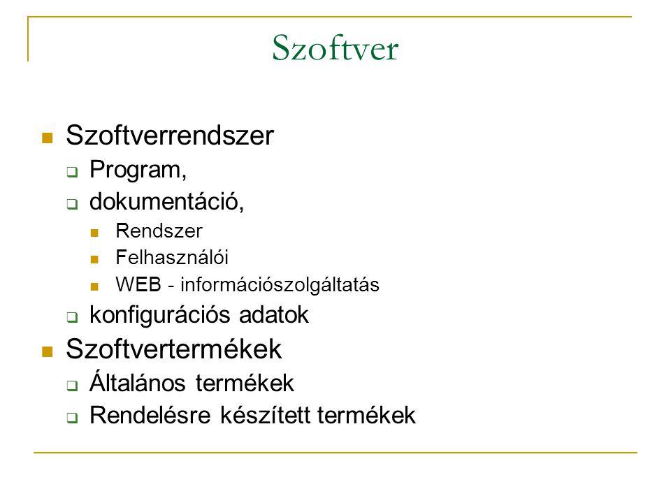 Szoftver Szoftverrendszer Szoftvertermékek Program, dokumentáció,