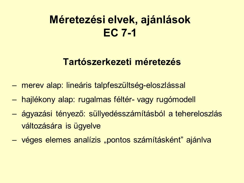 Méretezési elvek, ajánlások EC 7-1