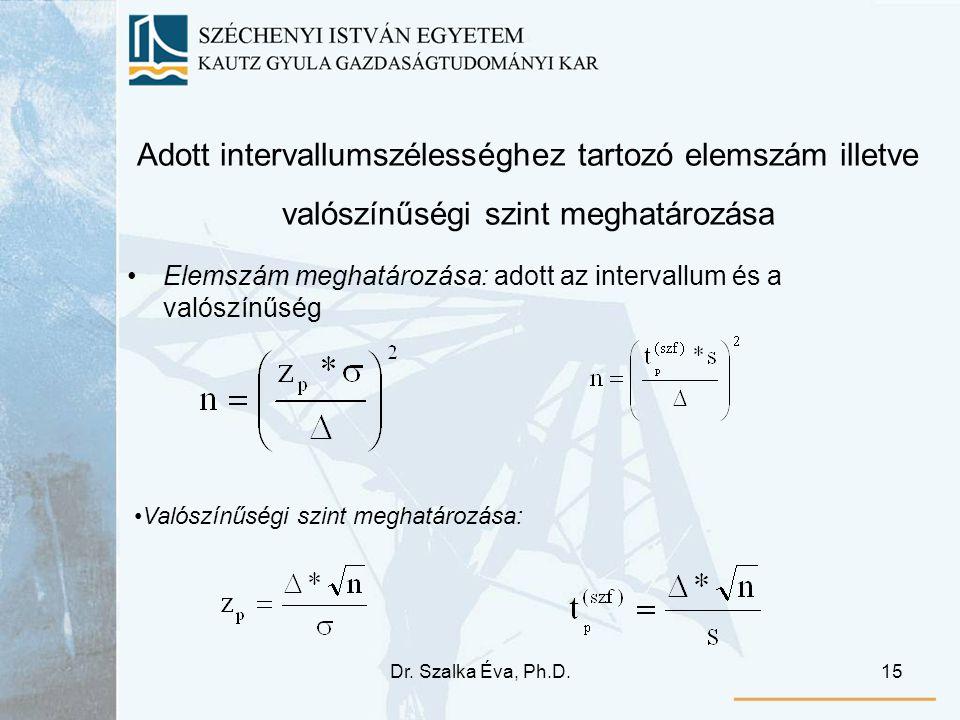 Adott intervallumszélességhez tartozó elemszám illetve valószínűségi szint meghatározása