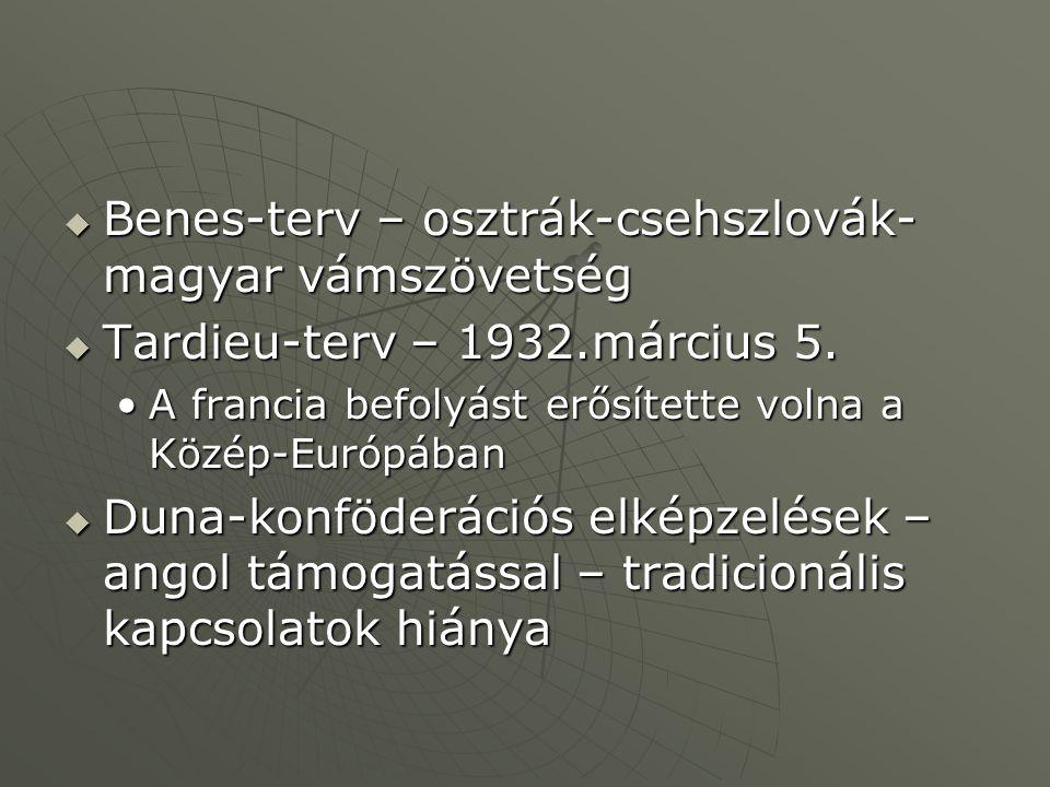 Benes-terv – osztrák-csehszlovák-magyar vámszövetség