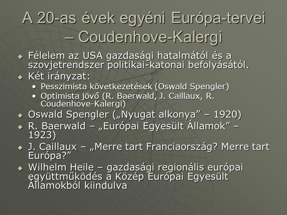 A 20-as évek egyéni Európa-tervei – Coudenhove-Kalergi